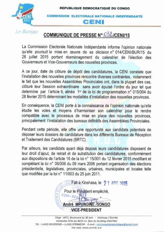 Nouvelles provinces : l'élection des Gouverneurs reportée sine die !