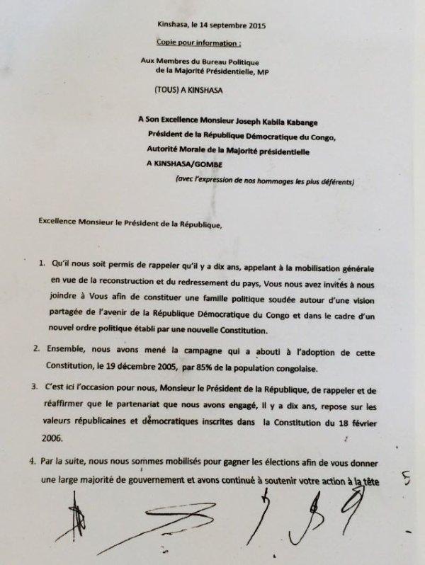 Projet glissement Kabila vient d'être laché par 7 de ses barons:7 partis de la majorité écrivent au président Kabila