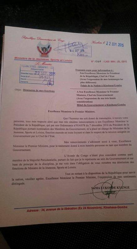 Démission du ministre Sama Lukonde du gouvernement: Le régime Kabila s'écroule comme un château de cartes