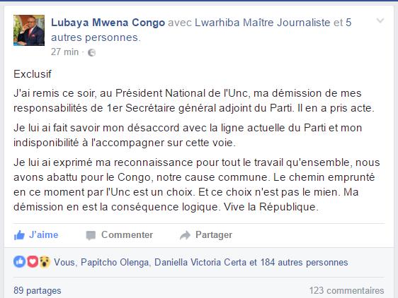 Démission de l'Honorable Claudel Lubaya de son poste à l'UNC