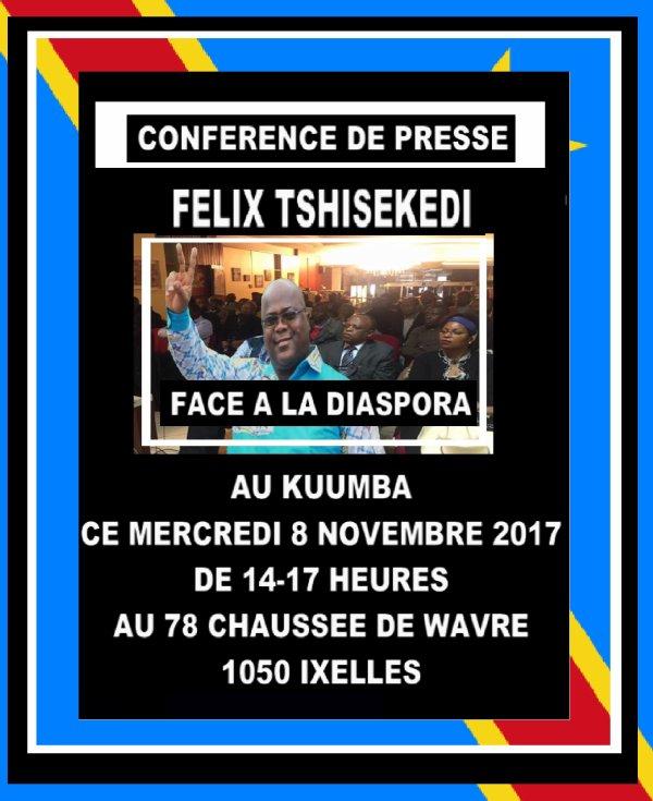 Ce mercredi 8 novembre le président du rassemblement Félix Tshisekedi sera face à la diaspora belge en vue de faire le point sur l'actualité et les enjeux politiques de l'heure ! Soyez tous les bienvenus !