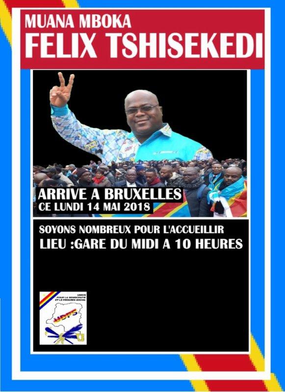 Felix Tshisekedi arrive a Bruxelles ce lundi 14 mai 2018