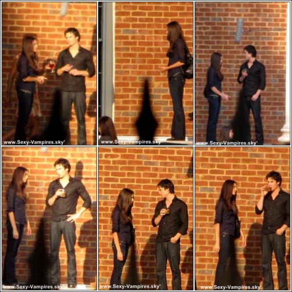 .  02 / 12 / 2010 ___ Nina & Ian , sur le tournage de l'episode de l'episode 2x10 !.   Pourquoi Damon est tout le temps obliger de boire  ^^  ? Ah moins que ce soit Ian ... Affaire a suivre  ;) !.