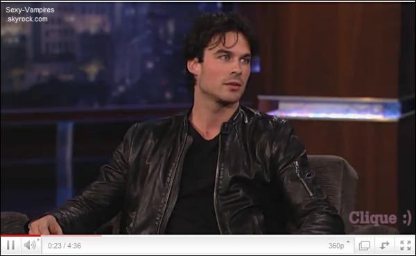 .  07 / 12 / 2010 ___ Ian fait sa petite promo sur le plateau de Jimmy Kimmel.   Mais c'est qu'ils sont intelligents nos vampires : Quand l'autre a finit sa promo , l'autre reprend la releve . & Quand c'est fait par Ian , on se laisse prendre  $)  ! .