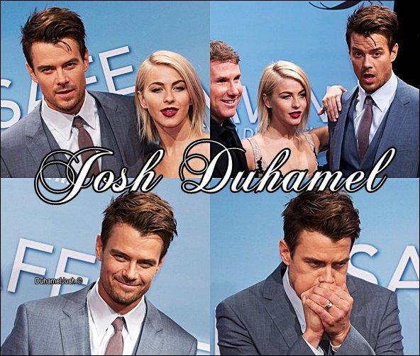 """. 24/02/2013 - Josh faisait la première de """"Safe Haven"""" à Berlin avec sa co-star Julianne Hough ainsi que Nicolas Sparks."""