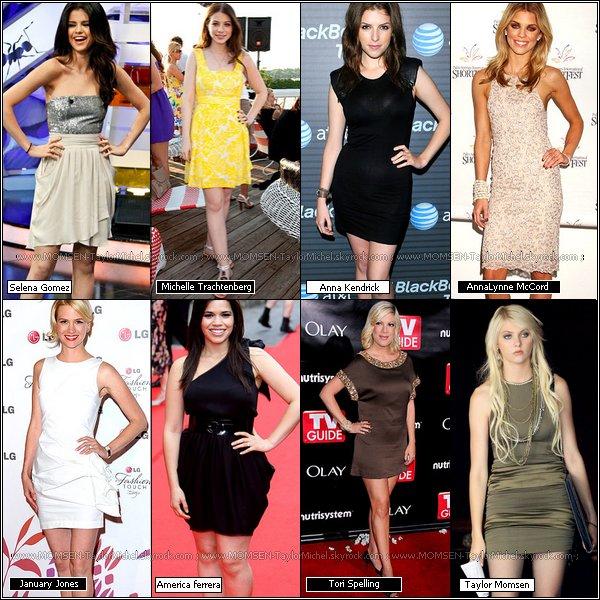 .La robe Alice + Olivia ;  Laquelle de ces starlettes la porte le mieux, quel model preferez vous ?.