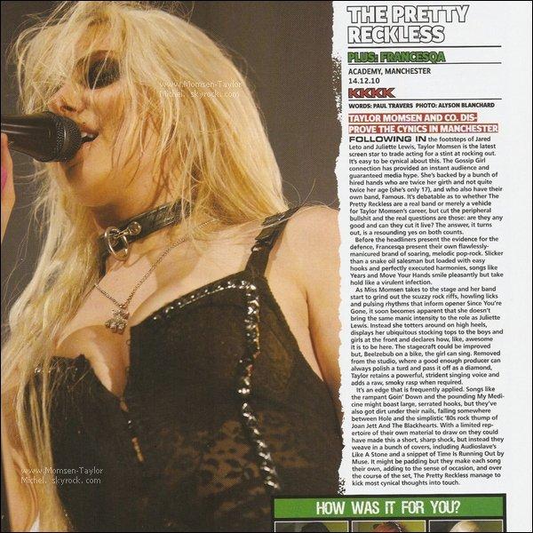 .01/2011, Kerrang Magazine a publié un article elogieux sur Taylor et les Pretty Reckless, J'adore !.
