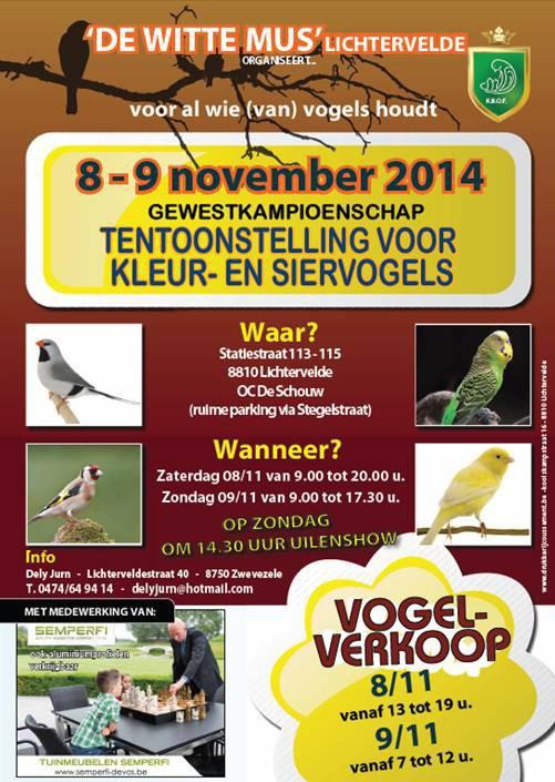 TT  De Witte Mus Lichtervelde 1335 vogels ingeschreven !!!!!!!!!!!!!!!