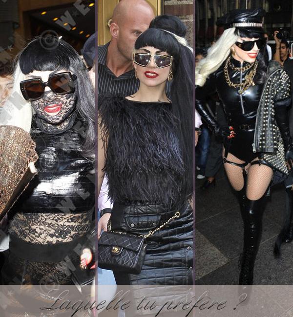 Lady Gaga n'a pas fini de nous surprendre ...  On connaît tous le style très particulier de Lady Gaga qui ne cesse jamais de nous étonner ... A chaque apparition la reine de la POP nous surprend un peu plus ! Alors qu'il y a seulement quelques jours, Lady Gaga était vêtue d'un tailleur simple ( pour notre plus grand étonnement ) elle aurai déjà décidé de changer, non pas d'une tenue, pas deux, mais TROIS tenues en 1 journée, alors là ... CHAPEAU l'artiste !