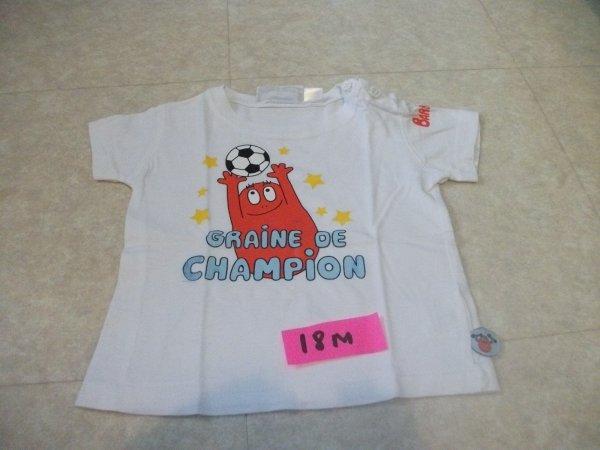 Tee shirt BARBAPAPA - taille 18 mois - blanc - 3 euros