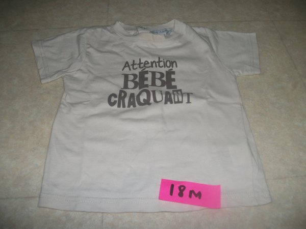 Tee shirt attention bébé craquant - beige - taille 18 mois - 2 euros
