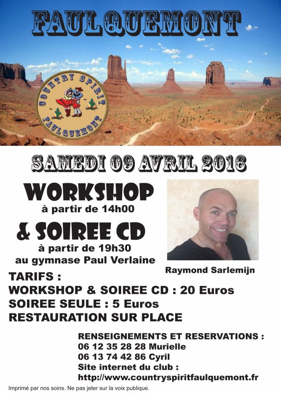 RAPPEL : WORKSHOP ET SOIRÉE CD / SAMEDI 09 AVRIL 2016