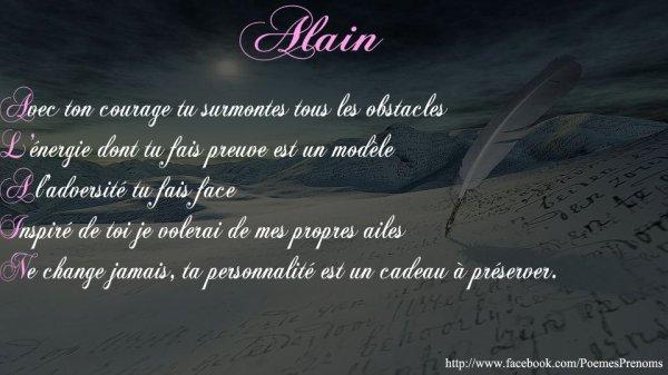 Poèmes Prénoms Alain Bienvenue Chez Alain