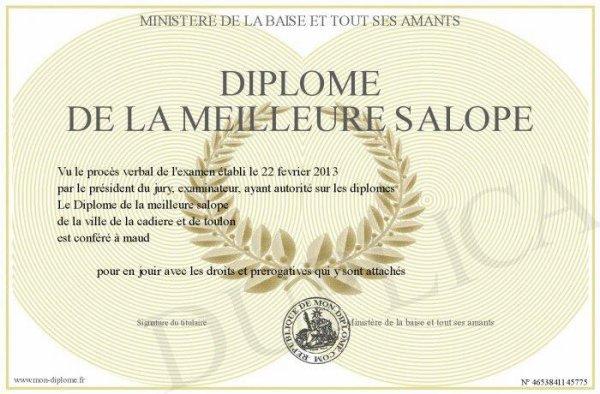 c'est mon diplôme et j'en suis très fière.