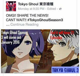 l'image qui prouve qu'il y aura une saison 3 de Tokyo Ghoul *^*