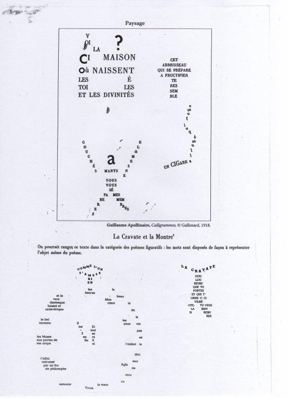 Textes complémentaires : Calligrammes, Guillaume Apollinaire, extraits