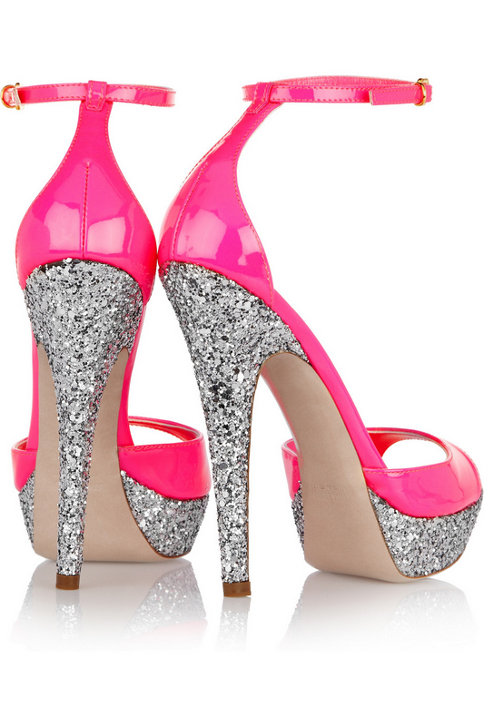 Miu Miu - Glitter-finish patent-leather sandals 450¤
