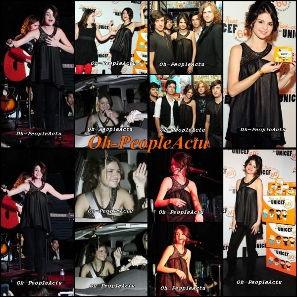 Le 26 octobre, Selena a donné un concert acoustique organisé par l'UNICEF, qui a eu lieu à Roxy. J'adore sa tenue, Elle est super classe ^^
