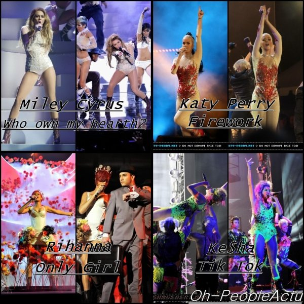 MTV Europe Music Awards : 2ème partie : Performance de Miley, Katy, Rihanna et Ke$ha