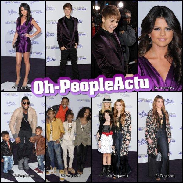 """Ce 8 fevrier, Le film de Justin Bieber est sorti. Plusieurs celebrités était présente pour voir """"Never Say Never"""" :) Selena Gomez, surement sa petite amie était presente dans une magnifique robe violette :D Miley qui interprete """"Over Board"""" dans on film y était aussi avec sa mère et Noah, mais sa tenue était comment dire, vraiment moche je trouve ^^ Puis, evidemment, Usher et la famille Smith était là pour soutenir Justin ^^ Alors, vous irez voir son film??"""