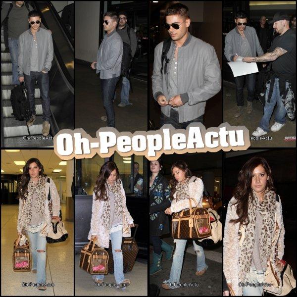 Zac Efron a été photographié à L'aéroport de Los Angeles LAX, le 8 fevrier. Le lendemain, C'etait au tour d'Ashley Tisdale d'être à LAX :) Niveau Tenue: Zac était super à part ses chaussure qui ne vont pas avec sa tenue, je trouve ^^ En ce qui concerne Ashley, J'aime bien son écharpe et son haut, mais pas son jean :) Et, j'aime ses valises :D & Vous, qu'en pensez vous??