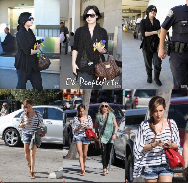 """Demi arrive à l'aéroport de LAX, à Los Angeles en Californie ce 1 avril ;) & Ce 31 mars, Ashley Tisdale, a été aperçu allant au Urth Cofee avec sa mère Lisa à Los Angeles pendant sa petite pause avant de demarrer la promotion de son prochain film """"Shapay Fabulous Adventure"""" :D"""