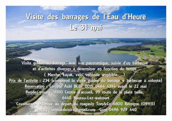 Visite des barrages de l'Eau d'Heure le 31 mai