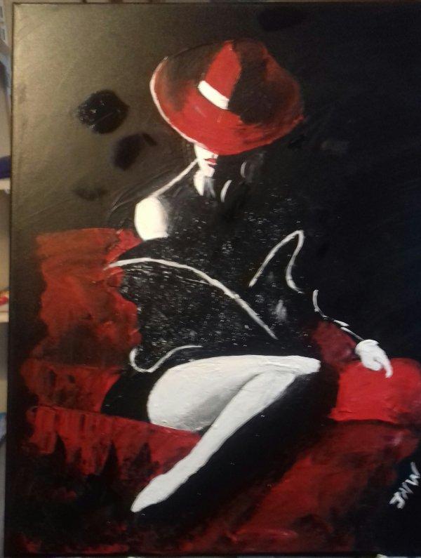 """acrylique    """"  rouge et noir  """"   50x60"""
