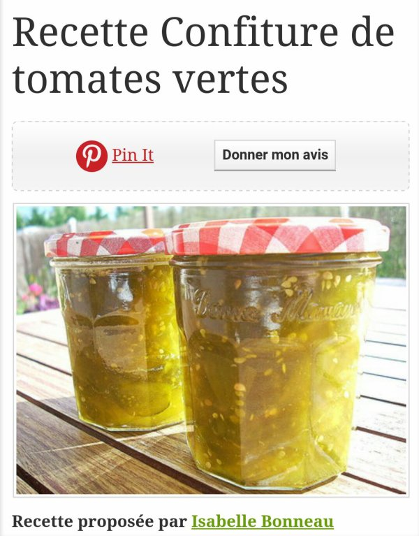Ma confiture de tomates avec recette