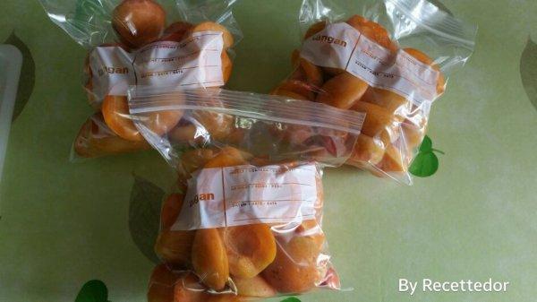 Abricots pour tartes au congélateur, total 5 sachets