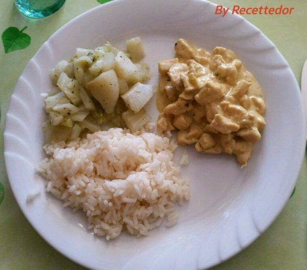 Émincé de poulet à la moutarde, riz blanc et fenouils vapeur