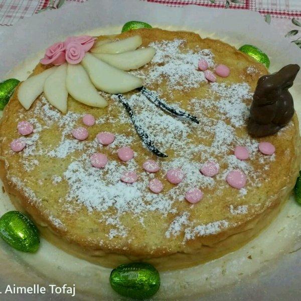 Ma fille nous a fait un magnifique gâteau magique aux 2 poires et vanille pour notre dimanche de Pâques !