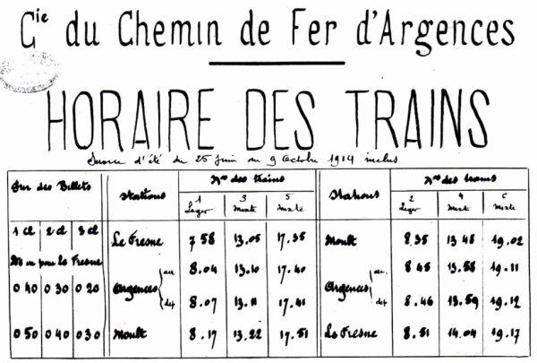 Horaire de l'été 1914 de la ligne de Moult à Argences