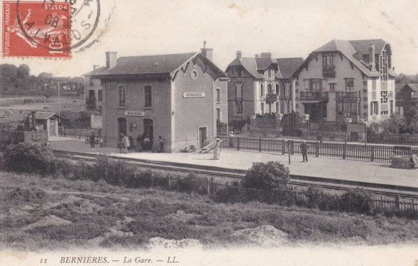 Gare de Bernières sur Mer en carte postale