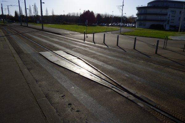 Tram de Caen - Entonnoir d'enraillage