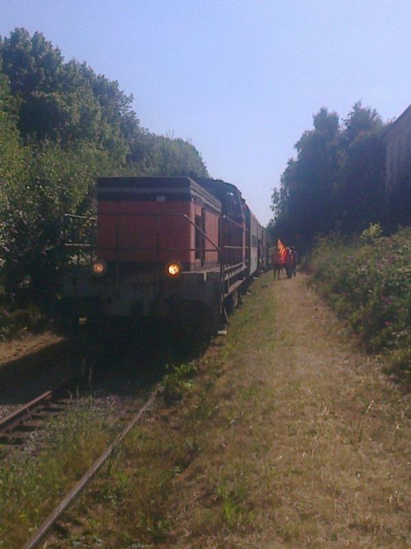 Train exceptionnel à la gare de Condé-sur-Noireau le 15 août 2016
