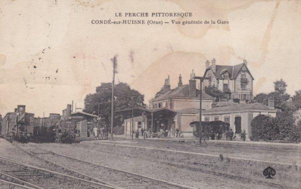 Gare de Condé sur Huisne en carte postale