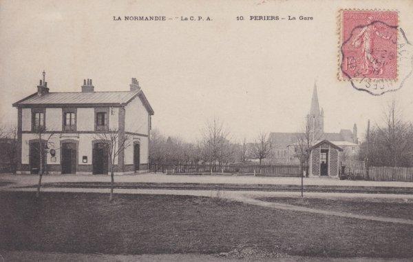 Gare de Périers (50) en carte postale