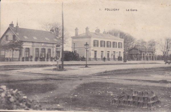Gare de Folligny en carte postale