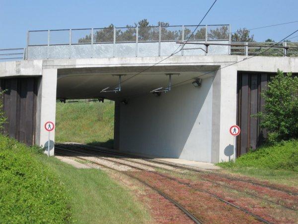 Le Mans - Passage du tram sous les voies SNCF