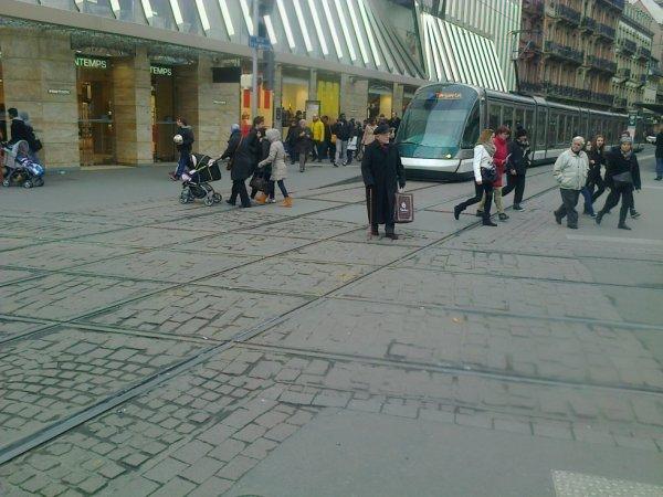 Croisement des voies de tramway à Strasbourg