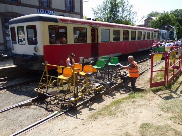 Retournement des vélorails en gare des Loges