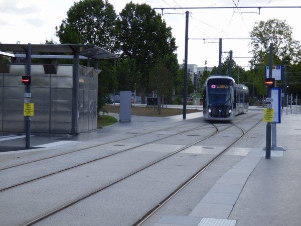Entrée d'une rame à la station terminus Presqu'ile