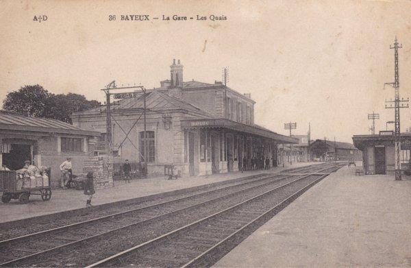 Gare de Bayeux en carte postale