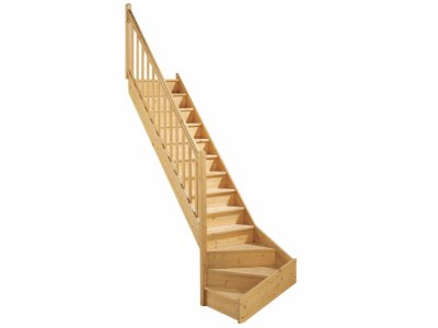 Escalier quart tournant gauche en bois st phanie for Encombrement escalier quart tournant
