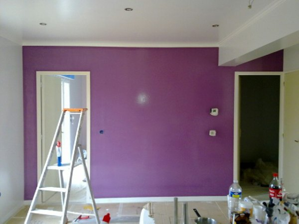Mur prune c t coin repas salle manger st phanie for Peinture mur salle a manger