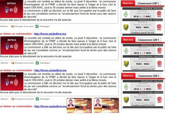 BOTOLA  Botola Journée 12  MAS - WAC  Le 12/12/2010 à 18h30  Complexe sportif de FES