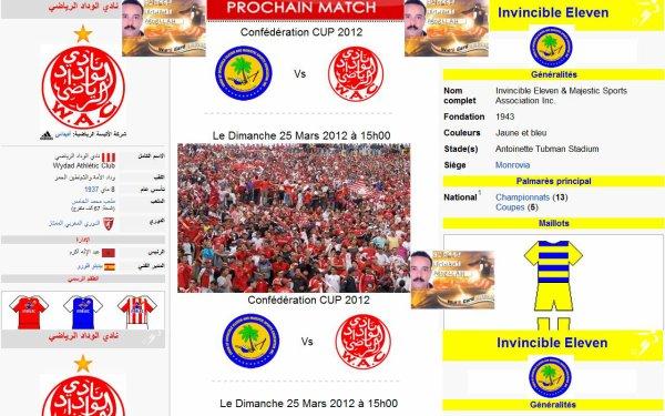وداد الأمة يواجه أنفينسيبل الليبري في إطار منافسات كأس الإتحاد الإفريقي يوم الأحد 25 مارس 2012 على الساعة الثالثة زوالا بالتوفيق لوداد القلوب٠