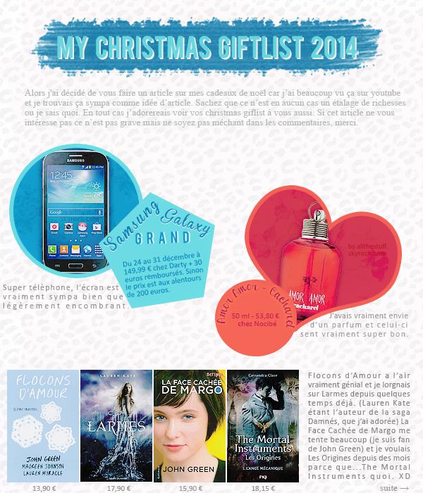 My christmas giftlist 2014.