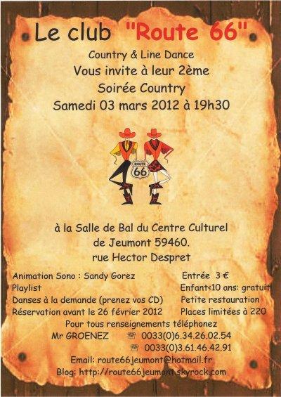 """03 mars 2012 : 2ème bal country du club  """"Route 66"""" à Jeumont"""